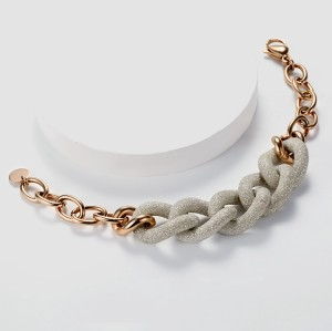 White mineral dust stainless steel link bracelet