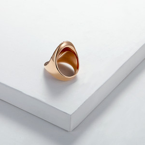 Brown Mineral Dust Stainless Steel Rose Gold Ring
