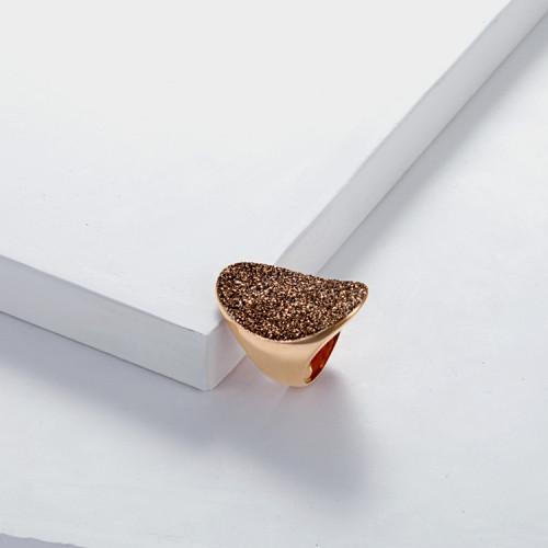 Bague en or rose en acier inoxydable avec poussière minérale brune