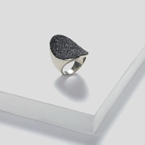 Blue Mineral Dust Stainless Steel Silver Ring