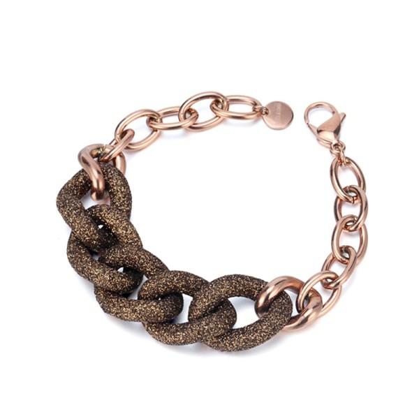 Brown Mineral Dust Stainless Steel Rose Gold Bracelet