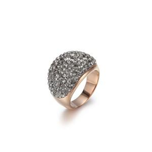Anillo de boda de acero inoxidable con circonita cúbica de cristal gris