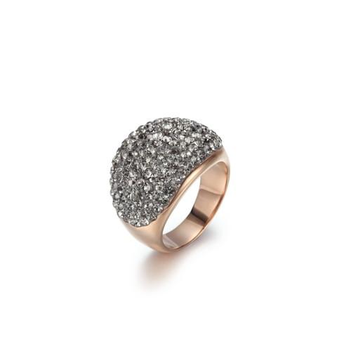 Fede nuziale in acciaio inossidabile con zirconi cubici di cristallo grigio