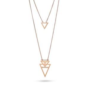 Collar en capas con colgante triangular geométrico de acero inoxidable de oro rosa