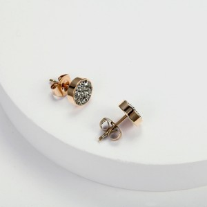Gray Crystal Cubic Zirconia Stainless Steel Rose Gold Stud Earrings