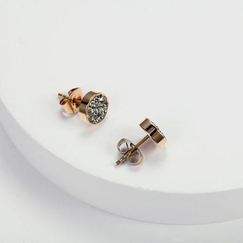 Cristal gris en acier inoxydable zircone cubique avec boucles d'oreilles en or rose