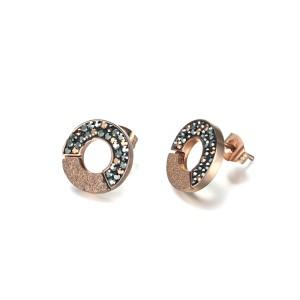 Pendientes circulares de cristal de oro rosa con circonita cúbica