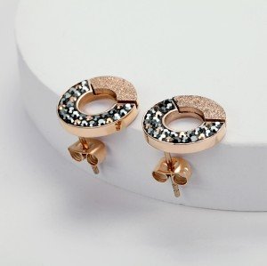 Crystal cubic zircon Stainless Steel Rose Gold Circle Stud Earrings