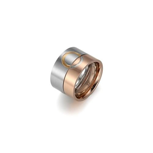 Pareja amor patrón plata y oro rosa anillo de acero inoxidable