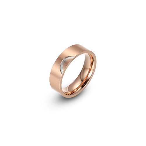 Couple amour motif bague en acier inoxydable or rose et argent