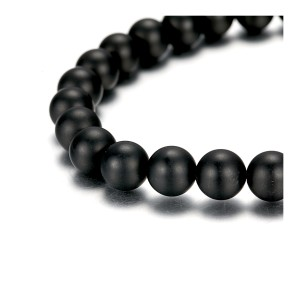 8mm Agate Beads Bracelet With Stainless Steel Accessories Black