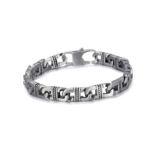 Antique silver etch cuban chain stianless steel bracelet