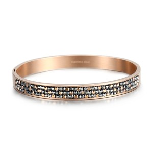 Crystal cubic zirconia stainless steel bracelet bangle