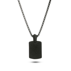 Reptile Style Black Plated Stainless Steel Pendant Necklace