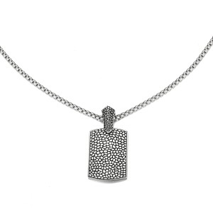 Reptile Style Silver Etch Pendant Necklace