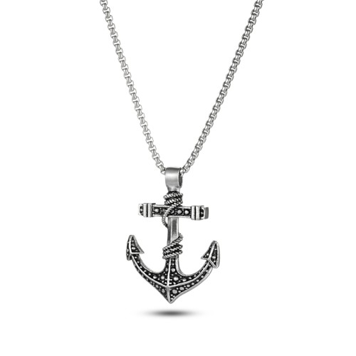Silver Etch Stainless Steel Anchor Pendant Necklace