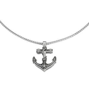 Silver Etch Anchor Pendant Necklace