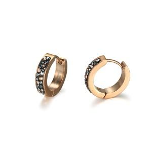 Crystal Cubic Zircon Stainless Steel Huggie Earrings
