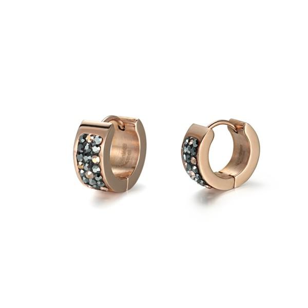Rose Gold Crystal Cubic Zircon Stainless Steel Huggie Earrings