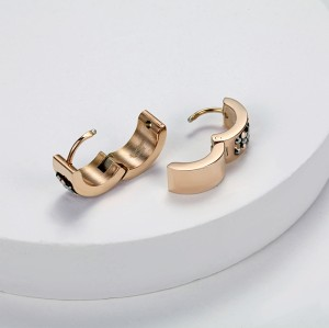Rose Gold Crystal Cubic Zircon Stainless Steel Huggie Earrings