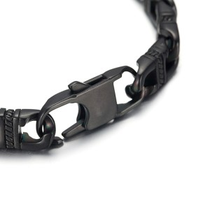 Reptile Style Black Stainless Steel Chain Link Bracelet