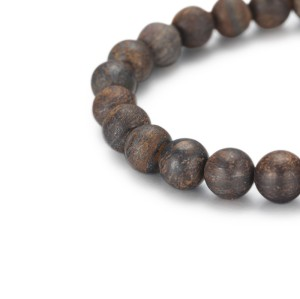 8mm Bronzite Beads Bracelet With Stainless Steel Accessory