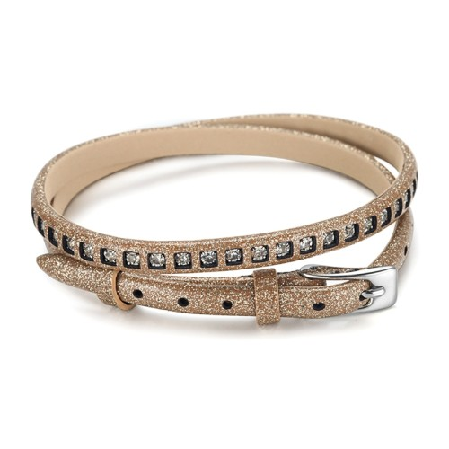 2 Warp Brown Leather Bracelet With CZ Stone And Watch Buckle