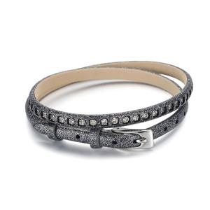 2 Warp Blue Leather Bracelet With CZ Stone And Watch Buckle
