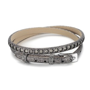 2 Warp Gray Leather Bracelet With CZ Stone And Watch Buckle