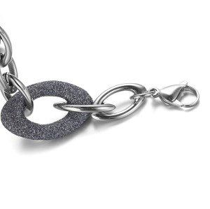 Blue Gray Mineral Dust Stainless Steel Chain Bracelet