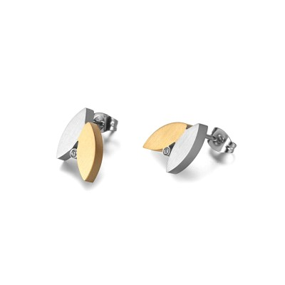 Gold Plated Crystal Cubic Zircon Stainless Steel Earrings