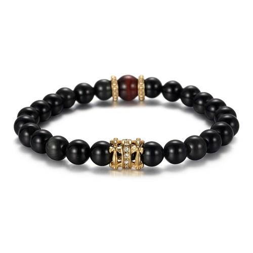 Bracelet en perles d'agate noir avec accessoires en acier inoxydable plaqués or