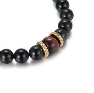 Men's Beads Bracelet With Black Agate and Red Tiger Eye