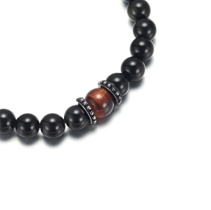Men's Beaded Bracelet with Agate and Red Tiger Eye