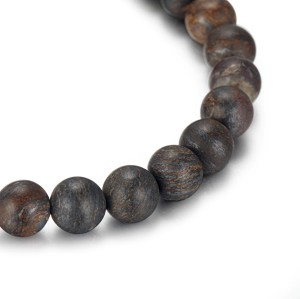 Men's Beaded Bracelet With Bronzite and Stainless Steel