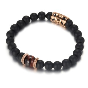 Men's Beads Bracelet With Matt Agate and Red Tiger Eye