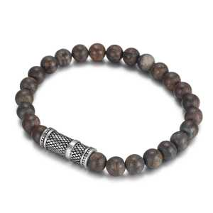 8mm beads bronzite bracelet with stainless steel accessories