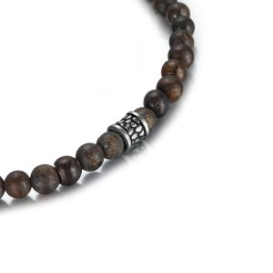 4mm bronzite beads bracelet with stainless steel accessories