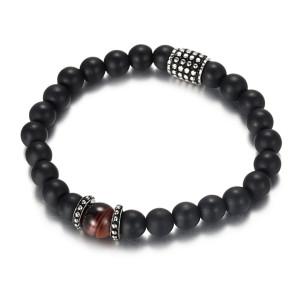 Men's Beaded Bracelet with Black Matt Agate and Red Tiger Eye