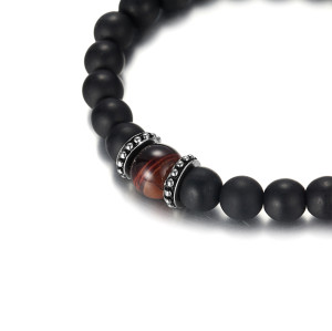 Men's Beaded Bracelet with Black Matt Agate and Red Tiger Eye