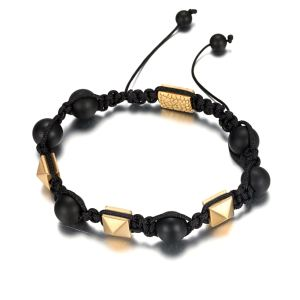 8mm braid agate beads bracelet with gold plated stainless steel reptile accessory