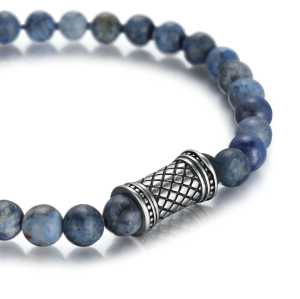 6mm dumortierite nature stone bracelet with stainless steel accessories