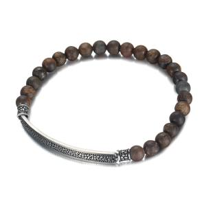 6mm bronzite bracelet with stainless steel band