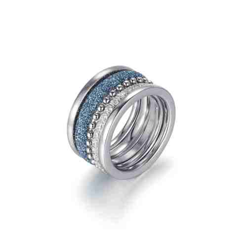 Blue mineral dust stainless steel ring stack