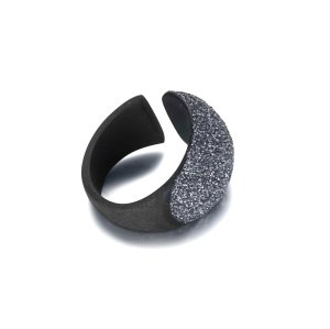 Blue mineral dust stainless steel black ring