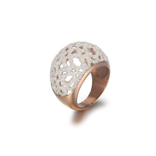 White mineral dust filigree stainless steel rose gold ring