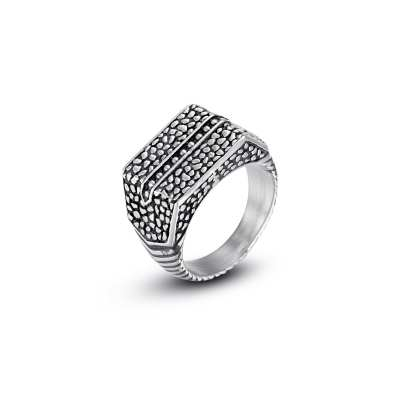 Reptile Style Antique Silver Etch Stainless Steel Ring