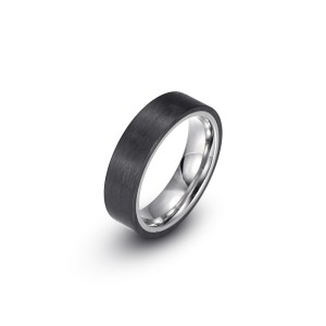 Carbon Fiber Stainless Steel Wide Plain Ring