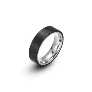 Carbon Fiber Stainless Steel Narrow Plain Ring