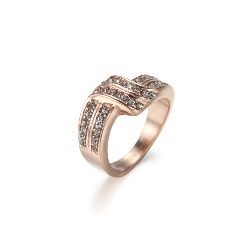 Gray Crystal Cubic Zirconia Stainless Steel Cross Line Wedding Band Ring